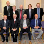 Class of 1970 members (back, from left): Brian Johnston, Geoff Sloan, Roy Shields, Lyn MacCallum, Ian Montgomery. Front: John Adrain, Philip Donaghy, Eric Kyle and Martyn Wells.